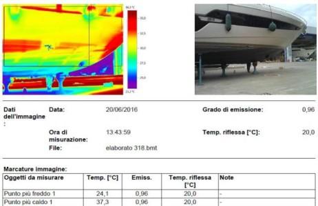 controllo combianto ultrasonoro e termografico IR su scafo in composito vetroresina in porzioni soggette ad attività di ripristino